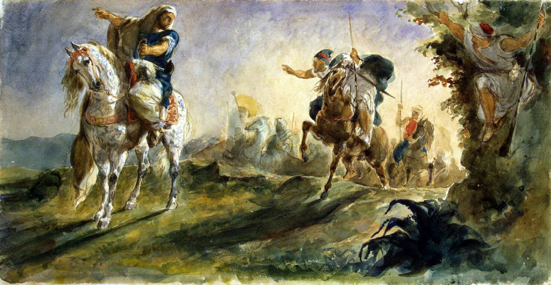 Eugene Delacroix. Arab horsemen galloping in search of