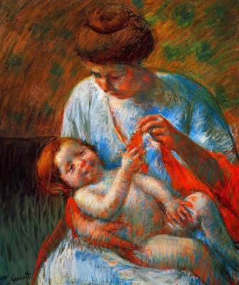 Mary Cassatt. The baby on his mother's lap, trying to grab the scarf.