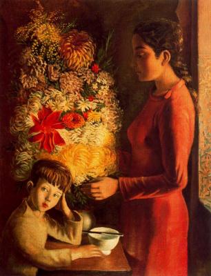 Андре Хамбоург. Девушка и большой букет цветов