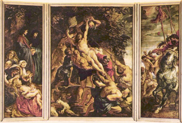 Peter Paul Rubens. The erection of the cross, triptych, General view, stage left: Mary and St. John, the Installation of the cross soldiers