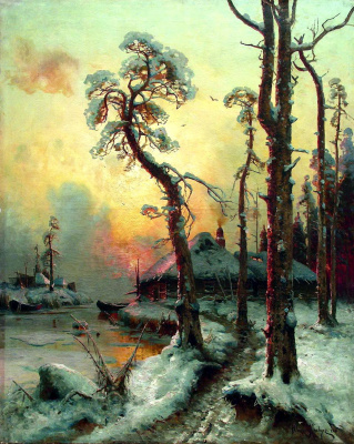 Julius Klever. Winter landscape with river and houses