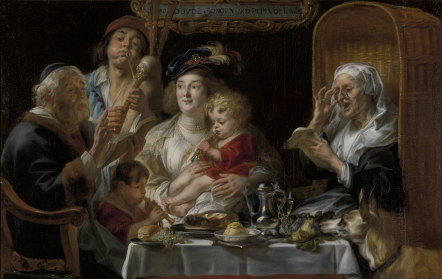 """Jacob Jordaens. """"The old men sing, the young play"""""""