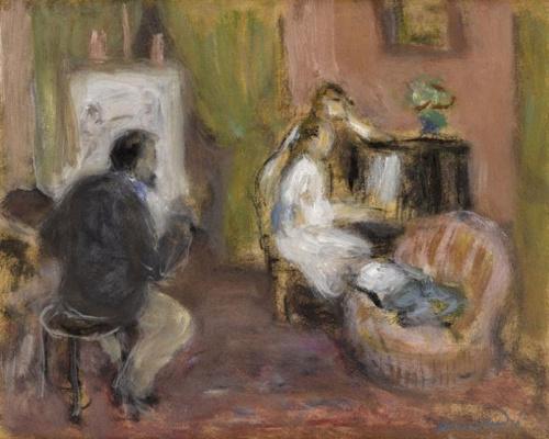 """Альбер  Андре. Огюст Ренуар пишет """"Двух девушек за фортепиано"""""""