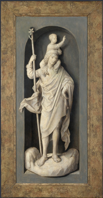 Hans Memling. Saint Christopher. Triptych Donna. The outer side of the left leaf