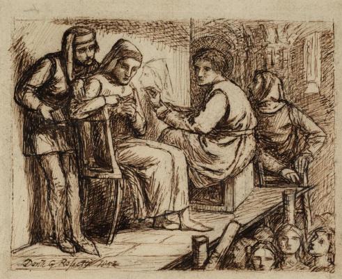 Dante Gabriel Rossetti. Giotto paints a portrait of Dante. Sketch