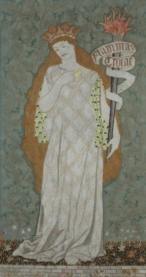 "William Morris. The right panel of the triptych screen based on Chaucer's ""The Legend of Beautiful Women"""
