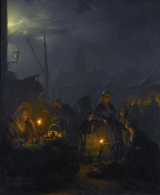 Петрус ван Шендель. Голландский рынок в лунном свете.  1853