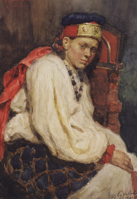 Vasily Ivanovich Surikov. The model in the ancient Russian costume