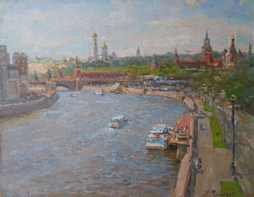 Aleksandr Chagadaev. View of Moscow from the big Ustinsky bridge