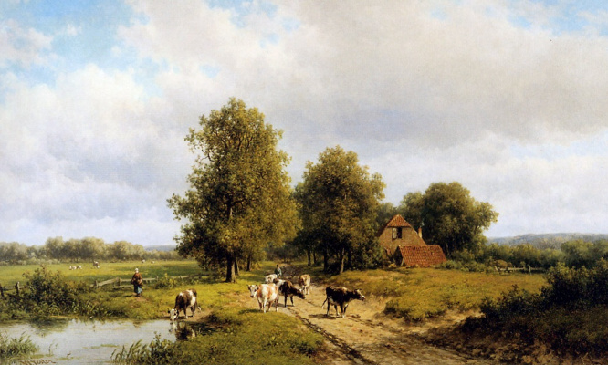 Виллем Вестер. Летний пейзаж с коровами