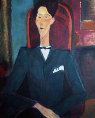 Андрей Харланов. Copy: Modigliani - Jean Cocteau 1916 Oil on canvas 100 x 81 cm