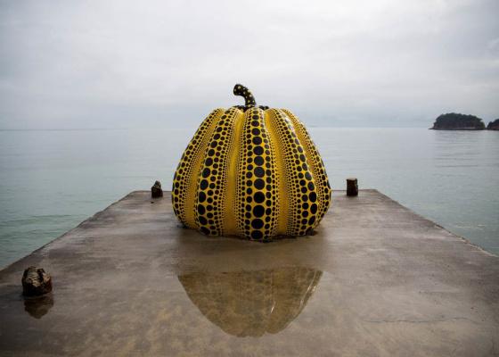 Yayoi Kusama. Kusama Pumpkin at Naoshima