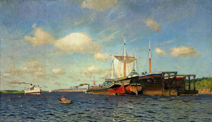 Isaac Levitan. Fresh wind. Volga