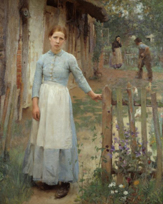 George Clausen. The girl at the gate