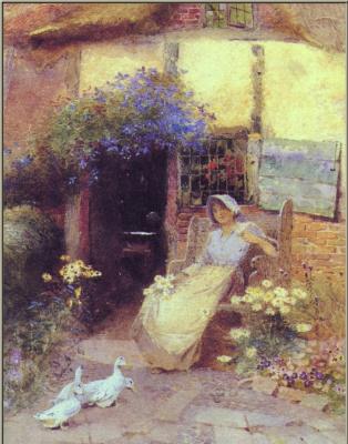 Дж Маккау. Девушка в саду и гуси