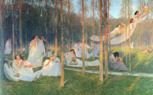 Henri Marten. Flight with harp