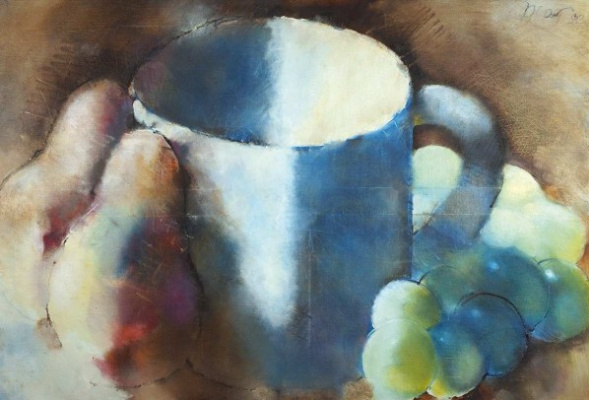 Рустам Усманович Хамдамов. Натюрморт с кружкой, грушами и виноградом