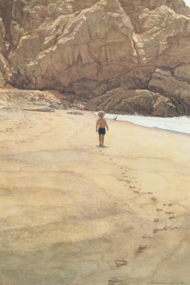 Steve Hanks. Footprints in the sand