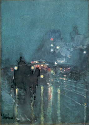 Nocturne, railway crossing, Chicago