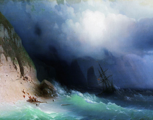 Ivan Aivazovsky. Shipwrecked at the rocks