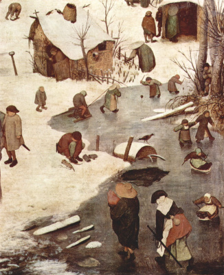 Pieter Bruegel The Elder. The census at Bethlehem. Fragment 1. On the frozen river