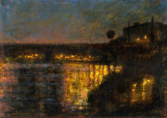 Arkady Perchevich Melik-Sargsyan. Night city bridge