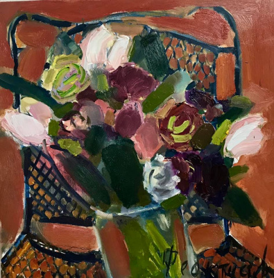 Asya Vyacheslavna Feoktistova. Bouquet on the openwork table