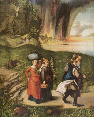 Albrecht Durer. The flight of Lot's family from Sodom
