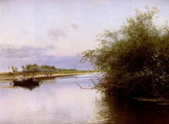 Рыбак и прачки у реки