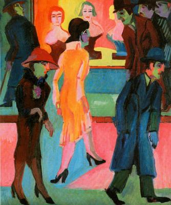 Ernst Ludwig Kirchner. Street scene in front of the Barber shop