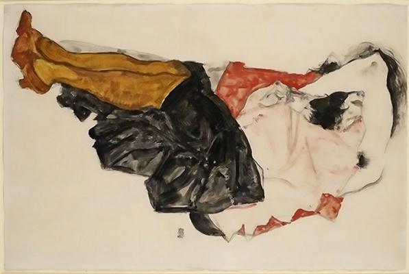 Egon Schiele. Woman hiding his face