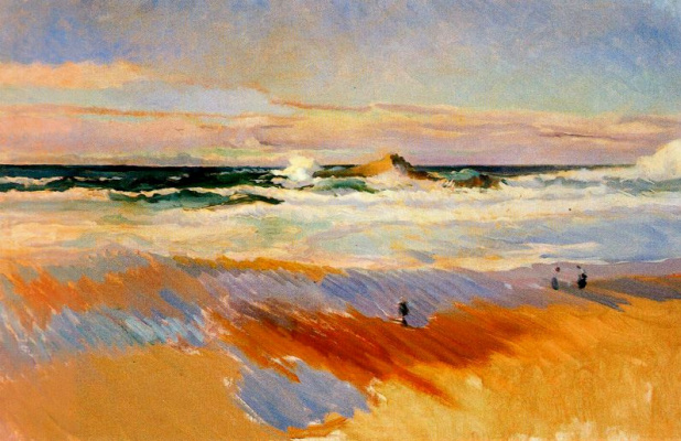 Joaquin Sorolla (Soroya). The beach in Biarritz, France