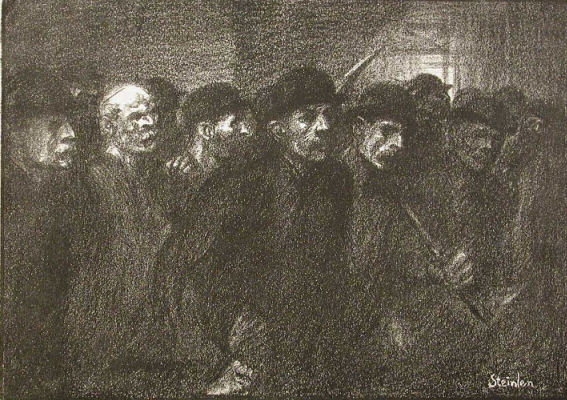Theophile-Alexander Steinlen. Workers leaving the factory