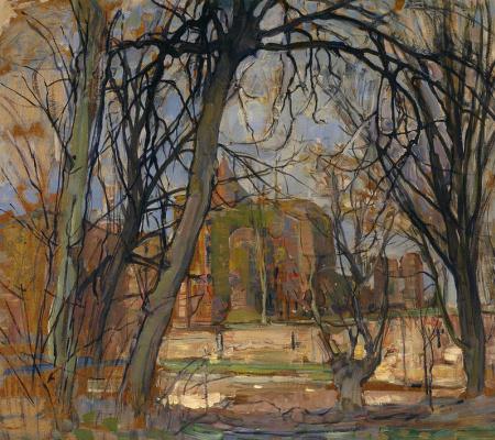 Pete Mondrian. Vesennee the sun. The ruins of the castle