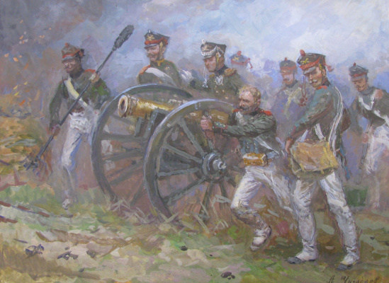 Aleksandr Chagadaev. Russian gunners in the battle of Borodino