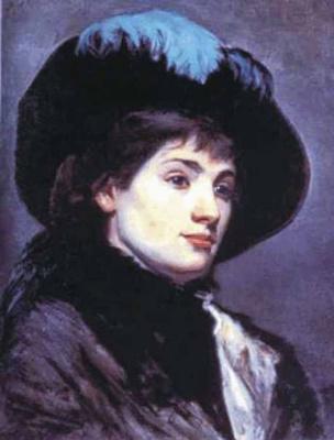 Мария Константиновна Башкирцева. Self portrait in a hat with a feather