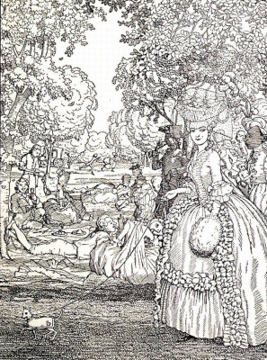"Constantin Somov. Picnic. Illustration from the book of Fr. Blei ""Das Leserbuch der Marquise"""