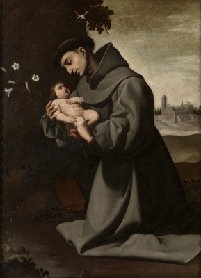 Francisco de Zurbaran. Saint Anthony of Padua with baby Jesus