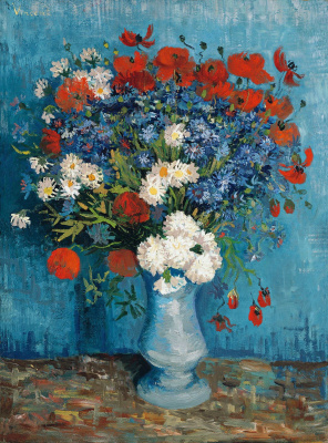 Vase with poppies and cornflowers