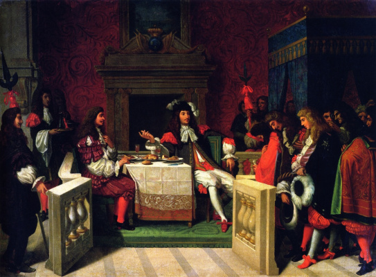 Jean Auguste Dominique Ingres. Louis XIV dining with Moliere
