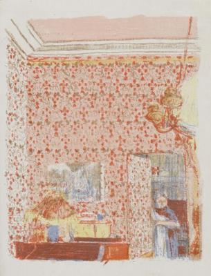 "Jean Edouard Vuillard. ""Landscapes and interiors"". Interior with pink Wallpaper I"