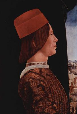 Эрколе де' Роберти. Портрет Джованни II Бентивольо. Диптих Бентивольо, фрагмент
