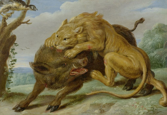 Jan van Kessel Elder. The lion and the boar