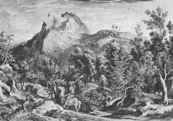 Йозеф Антон Кох. Пейзаж с охотником близ Чивителлы