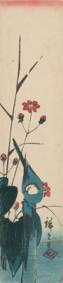 Utagawa Hiroshige. Wagtail near the water among the flowering plants