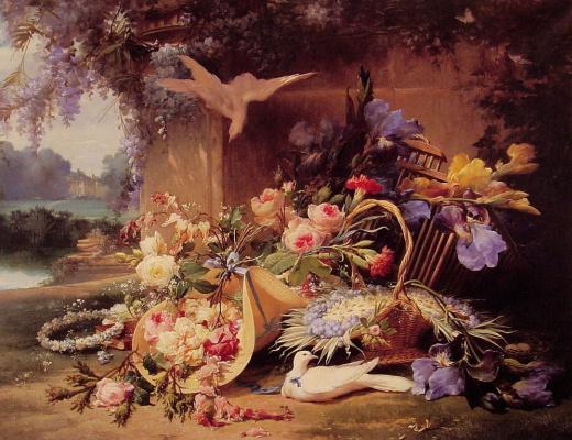 Эжен Бидо. Изящный натюрморт с цветами