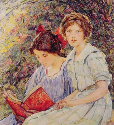 Роберт Рейд. Две девушки читают