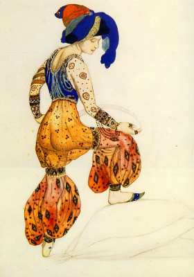 "Lev Samoilovich Bakst (Leon Bakst). The sketch of a costume of Blue sultans for the ballet ""Scheherazade"""