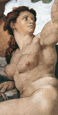 Michelangelo Buonarroti. The fall and expulsion from garden of Eden. Eve. (Fragment)