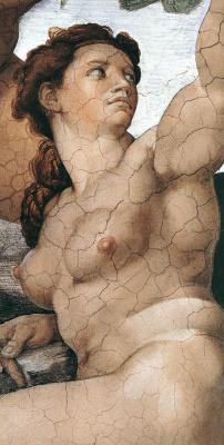 Микеланджело Буонарроти. Грехопадение и изгнание из Эдемского Сада. Ева. (Фрагмент)